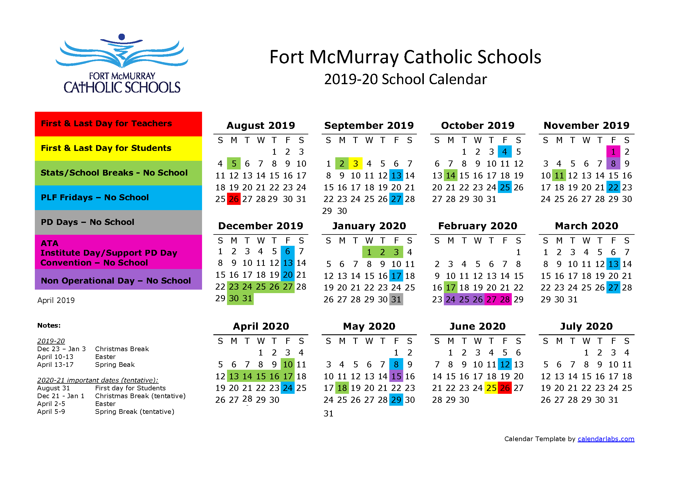 Catholic Calendar January 2020 School Calendar 2019 2020 | Sister Mary Phillips School